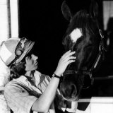 Diane Crump, the First Woman to Ride in the Kentucky Derby, with Her Horse Fathom, 1970 Posters