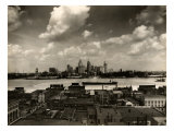 Detroit Skyline and Boats on the Detroit River as Seen from Windsor, Ontario, 1929, Photographic Print