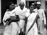 Mahatma Gandhi, at Age 70, with His Two Grandaughters, October 1939 Photo
