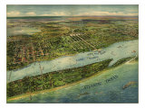 1915 Aerial View of West Palm Beach, North Palm Beach and Lake Worth, Florida Posters