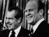Richard Nixon with Vice President Designate Gerald Ford, at the White House, Washington, D.C., 1973 Posters