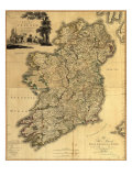 Map of Ireland from 18th Century, Showing Counties, When All of Ireland Was under British Rule Print