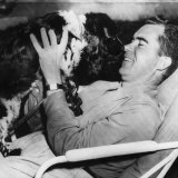 Senator and Vice Presidential Candidate Richard Nixon with His Dog, Checkers, 1952 Photo
