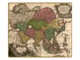 1724 Map of Asia and Islands of the East Indies. Central and Western Asia are Occupied by Tatars Photo
