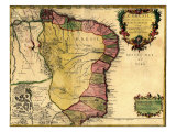 1719 Map of Brazil, Showing Geographic Definition on the Coast Photo