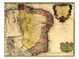 1719 Mapa de Brasil, Presentando Geographic Definition on Costa Fotografía