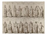 18th Century European Engraving Depicting Chinese Men and Women of Various Social Classes Pósters