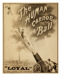 1879 Circus Poster for Human Cannonball Aerial Acrobatic Act - Photo