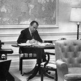 1971 US Presidency, President Richard Nixon Working on His State of the Union Address, January 1971 Photo