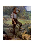 Abraham Lincoln Depicted as a Frontier Rail Splitter in 1909 Commemorative Portrait Prints