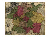 Map of German States, Then the Holy Roman Empire, from the Early 18th Century Prints