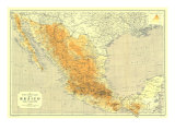 1914 Mexico Map Prints by  National Geographic Maps
