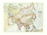 Map of Asia 1921 with Europe and a portion of Africa Posters