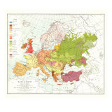 1918 Races of Europe Map Prints