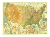 United States Of America Map 1923 Kunstdrucke