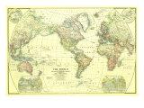 1922 World Map Kunst av  National Geographic Maps
