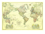 1922 World Map Art by  National Geographic Maps