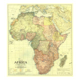 1922 Africa Map with portions of Europe and Asia Stampa giclée premium di  National Geographic Maps