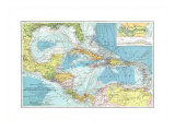The Islands of the Caribbean, Cuba, Puerto Rico Map, Giclee Print