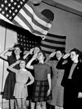 Refugee Children Saluting the American Flag. New York, December 1943 Photo