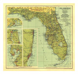 1930 Florida Map Premium Giclee Print by  National Geographic Maps