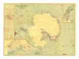 1932 Antarctic Regions Map Art by  National Geographic Maps