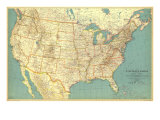 United States Of America Map 1933 Plakater