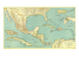 Mexico, Central America And The West Indies Map 1934 Affiches