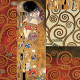 Deco Collage Detail (from The Kiss) Posters van Gustav Klimt