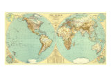 1935 World Map Premium Giclée-tryk af  National Geographic Maps