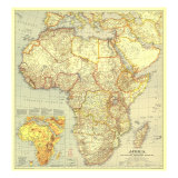 1935 Africa Map Lámina giclée premium por  National Geographic Maps