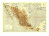 1911 Mexico Map Art