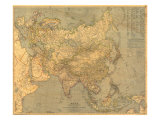 Asia Map 1933 Prints