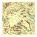 1907 North Pole Regions Map Art by  National Geographic Maps