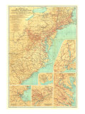 1932 Travels of George Washington Map Prints by  National Geographic Maps