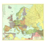 1929 Europe, and the Near East Map Prints by  National Geographic Maps