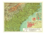 1926 North Carolina, South Carolina, Georgia and Eastern Tennessee Map Posters by  National Geographic Maps