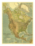 North America Map 1924 Affiches