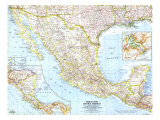 Mexico And Central America Map 1961 Affiches