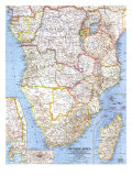 1962 Southern Africa Map Prints by  National Geographic Maps