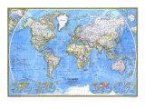 1981 World Map Posters by  National Geographic Maps