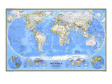 1988 World Map Posters by  National Geographic Maps