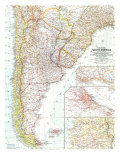 1958 Southern South America Map Prints