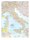 1961 Italy Map Art by  National Geographic Maps