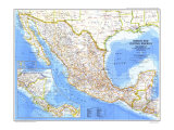 Mexico And Central America Map 1980 Poster