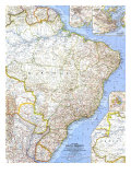 1962 Eastern South America Map Prints by  National Geographic Maps