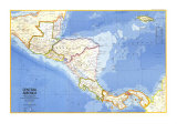 Central America Map 1973 Poster af National Geographic Maps