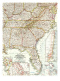 1958 Southeastern United States Map Prints by  National Geographic Maps