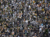 Tightly packed markers engulf a large cemetery in Fortaleza Photographic Print by Bobby Haas