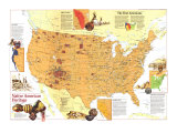 1991 Native American Heritage Map Posters by  National Geographic Maps